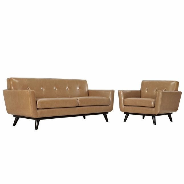 Mid-Century Modern Engage 2pc Button-Tufted Leather Living Room Set, Tan