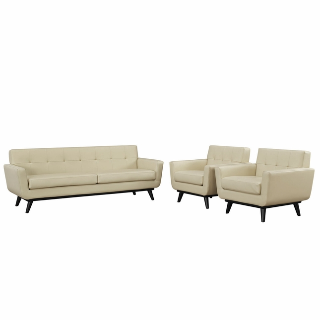 Mid-Century Modern Engage 3pc Button-Tufted Leather Living Room Set, Beige