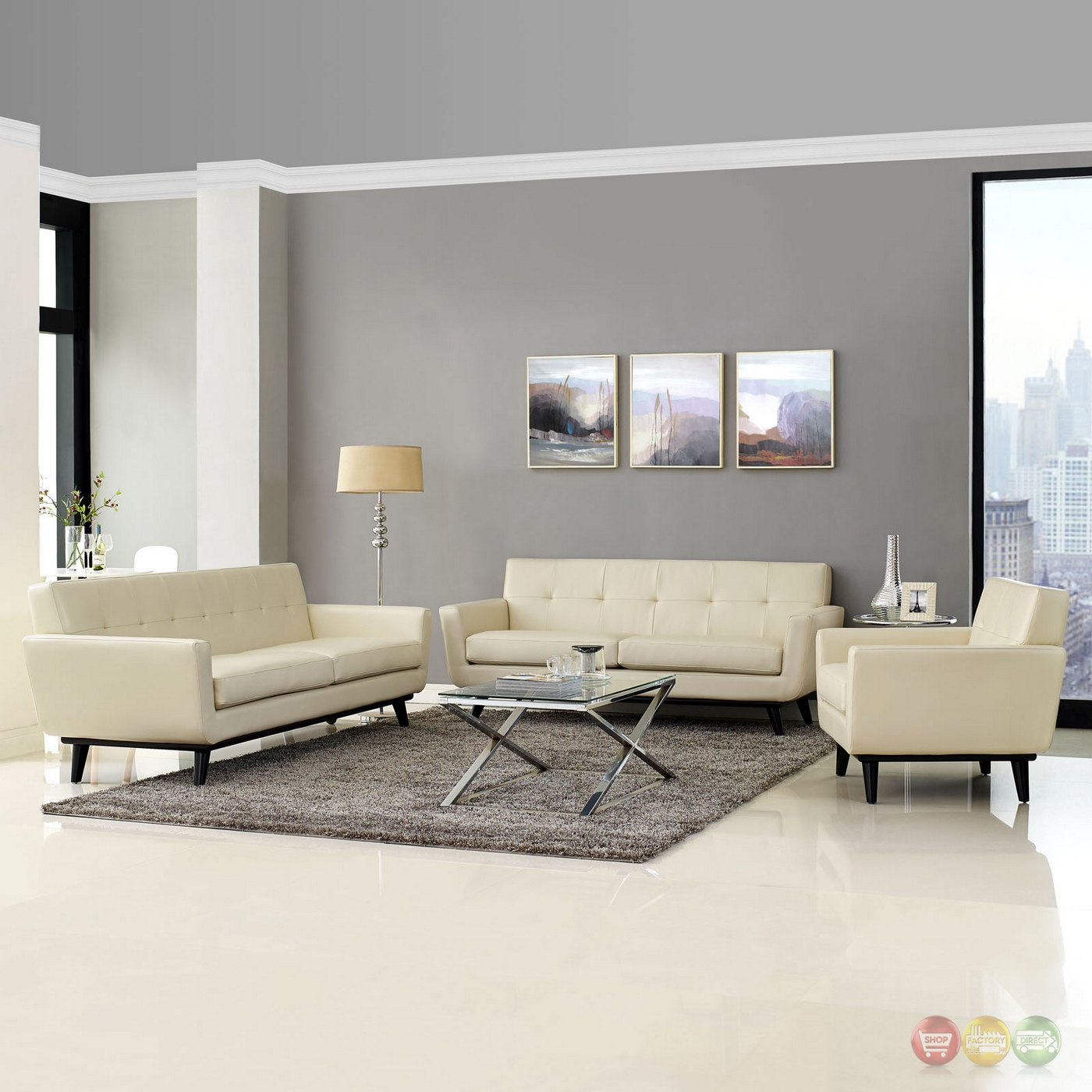 Engage Contemporary 3pc Button Tufted Leather Living Room Set Beige
