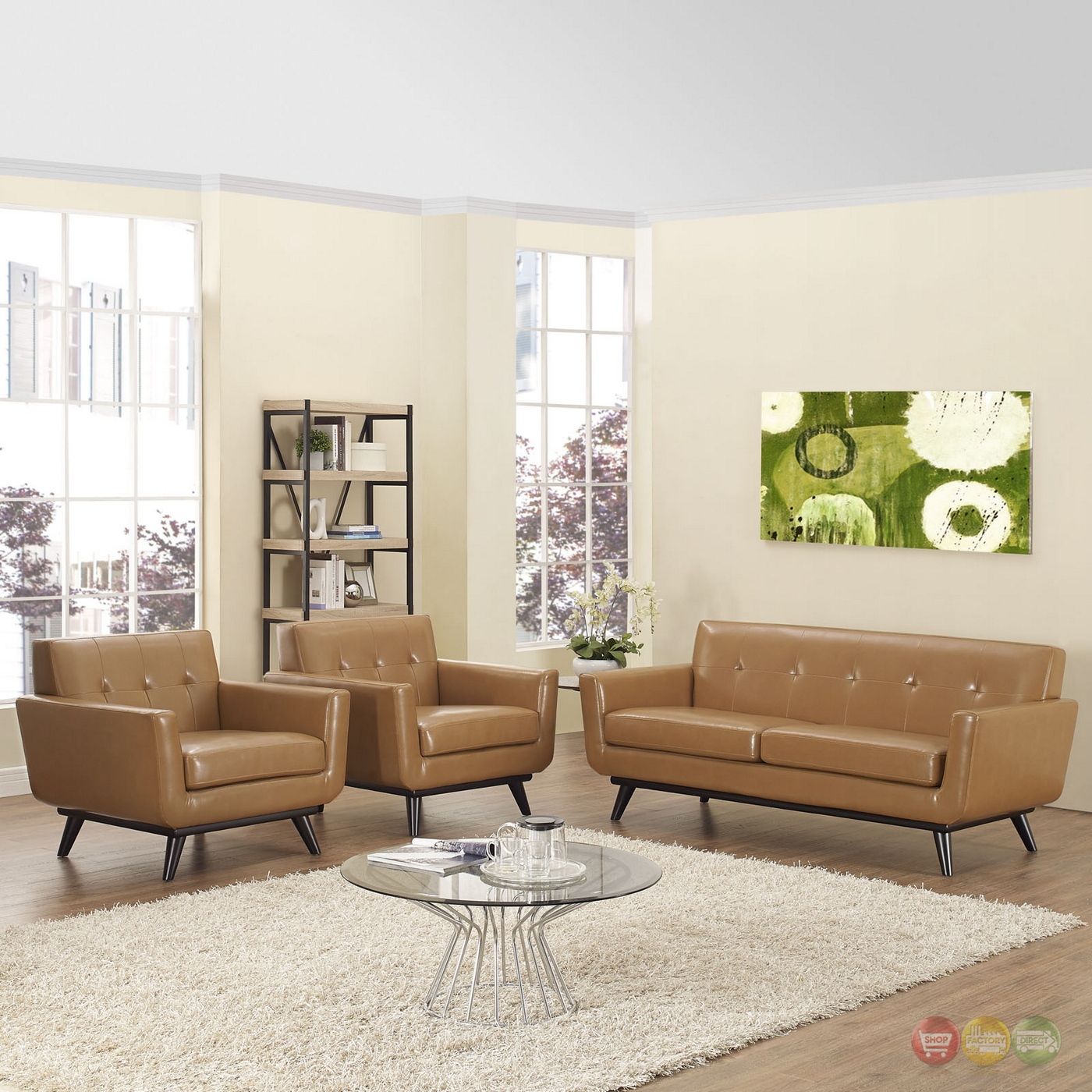 engage contemporary 3pc button tufted leather living room set tan. Black Bedroom Furniture Sets. Home Design Ideas
