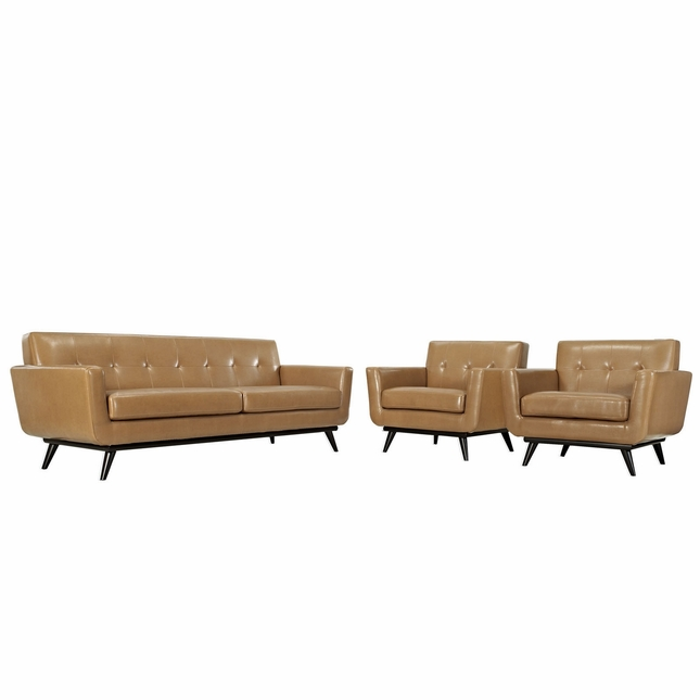 Mid Century Modern Engage 3pc Button Tufted Leather Living Room Set, Tan