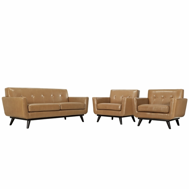 Mid-Century Modern Engage 3pc Button-Tufted Leather Living Room Set, Tan