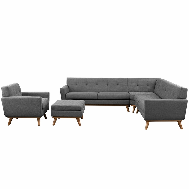 Mid-Century Modern Engage 5pc Fabric Sectional Sofa, Expectation Gray