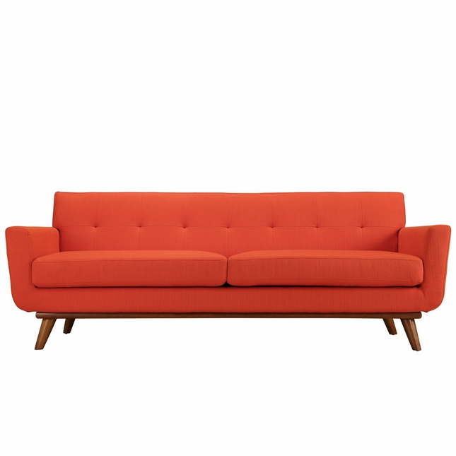 Mid-Century Modern Engage Button-Tufted Sofa w/ Cherry Base ...