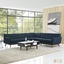 Mid-Century Modern Engage L-shaped Sectional Sofa w/ Button Accents, Azure