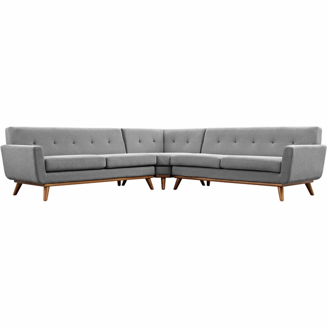 Mid-Century Modern Engage L-shaped Sectional Sofa, Expectation Gray