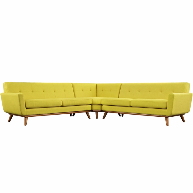 Mid-Century Modern Engage L-shaped Sectional Sofa w/ Button Accents, Sunny