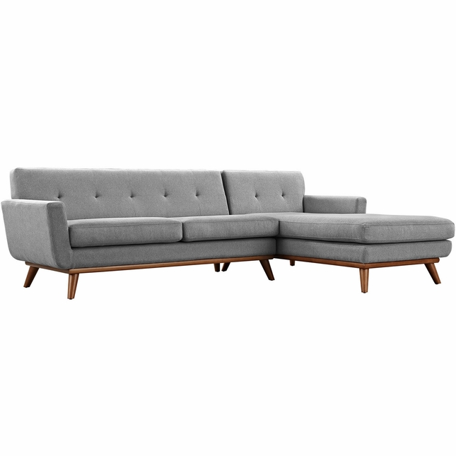 Mid-Century Modern Engage Right-facing Chaise Sectional Sofa, Expectation Gray