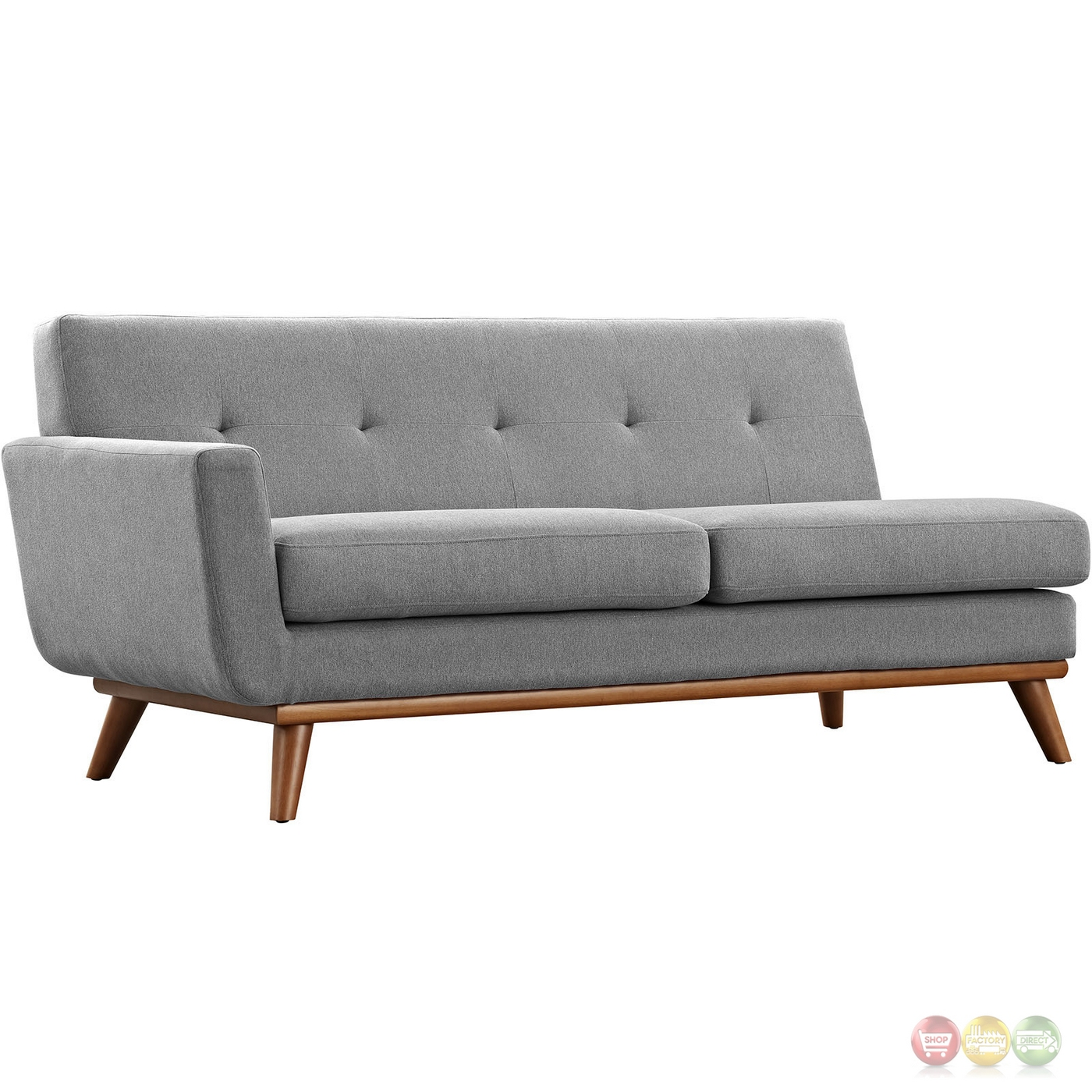 Mid century modern engage right facing chaise sectional sofa expectation gray Loveseat chaise sectional
