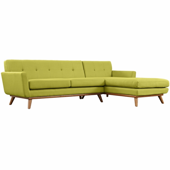 Mid-Century Modern Engage Right-facing Chaise Sectional Sofa, Wheat