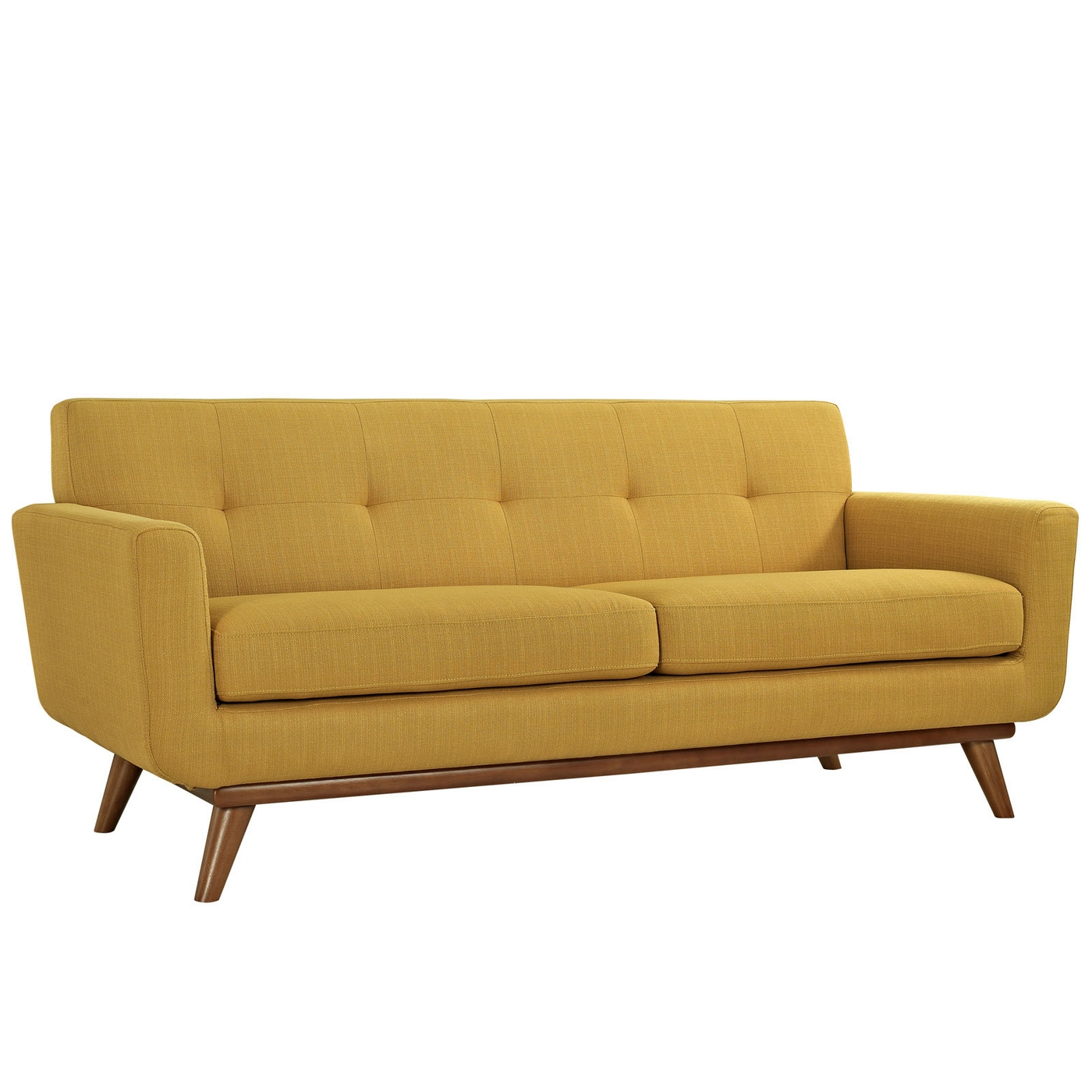 Mid Century Modern Engage Contemporary Loveseat With Wooden Legs Citrus