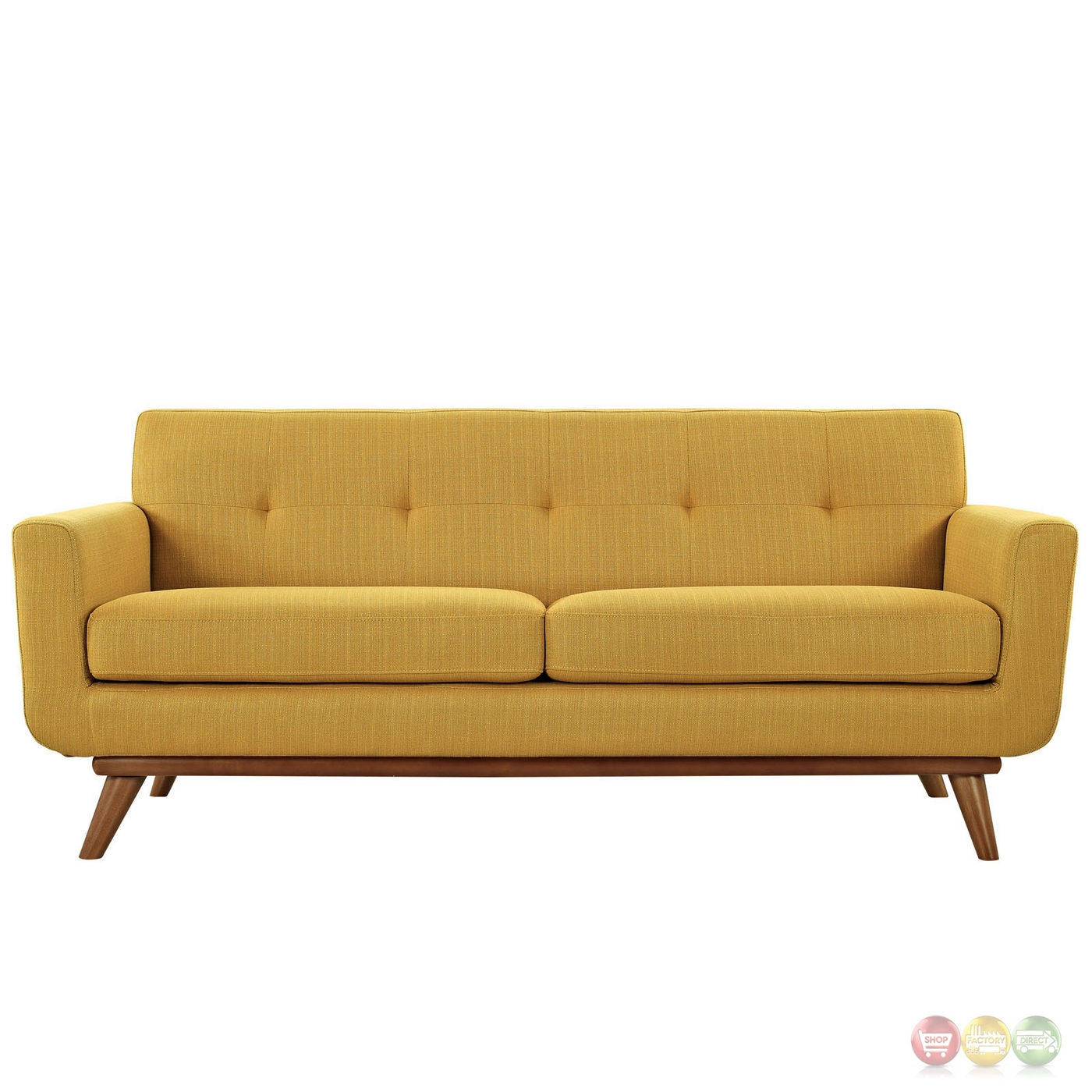 Engage Contemporary Upholstered Loveseat With Wooden Legs Citrus