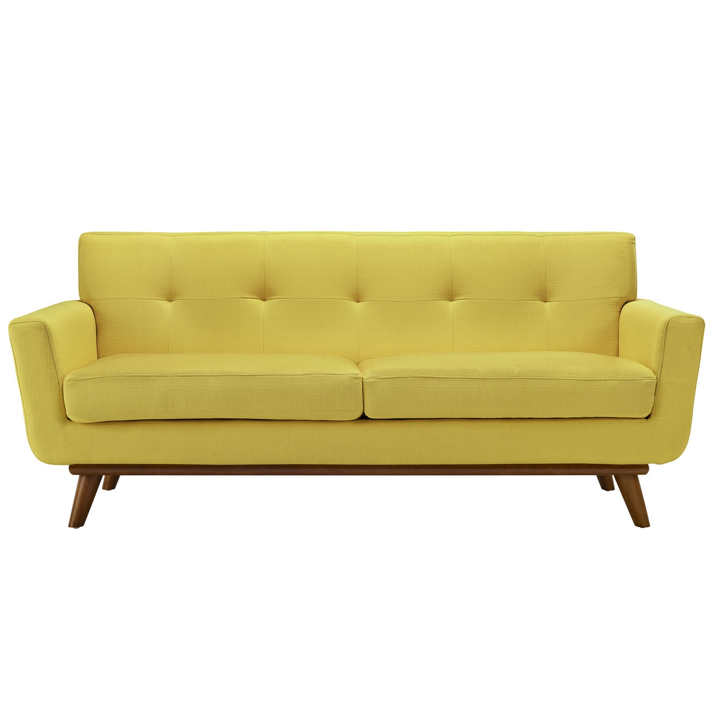 engage contemporary upholstered loveseat with wooden legs