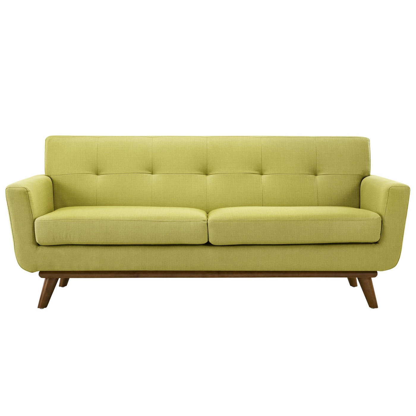 Engage Contemporary Upholstered Loveseat With Wooden Legs Wheatgrass