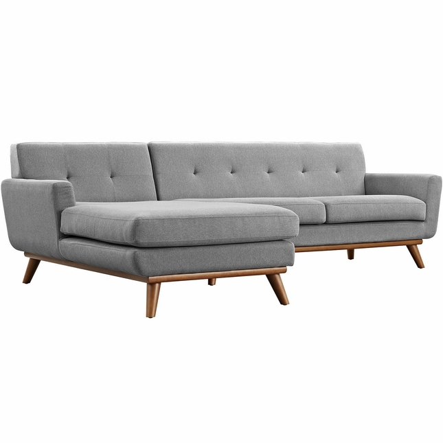 Mid-Century Modern Engage Left-facing Sectional Sofa, Expectation Gray