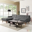 Mid-Century Modern Engage Left-facing Sectional Sofa w/ Wood Frame, Gray