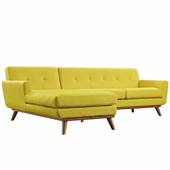Mid-Century Modern Engage Left-facing Sectional Sofa w/ Wood Frame, Sunny