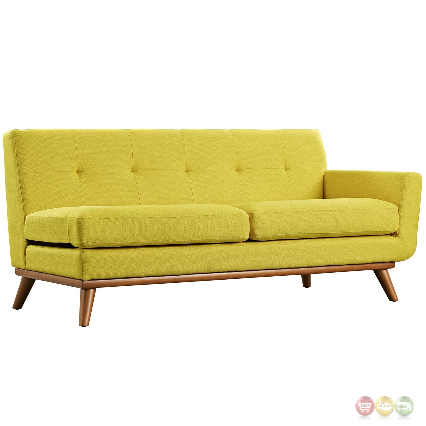 Engage left facing button tufted sectional sofa with wood