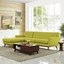 Mid-Century Modern Engage Left-facing Sectional Sofa w/ Wood Frame, Wheat