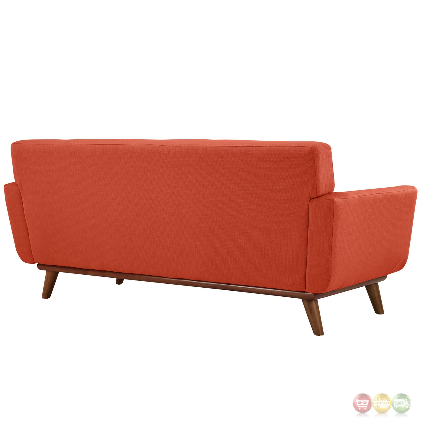 Engage Modern 2pc Upholstered Button Tufted Loveseat And Armchair Set Atomic Red