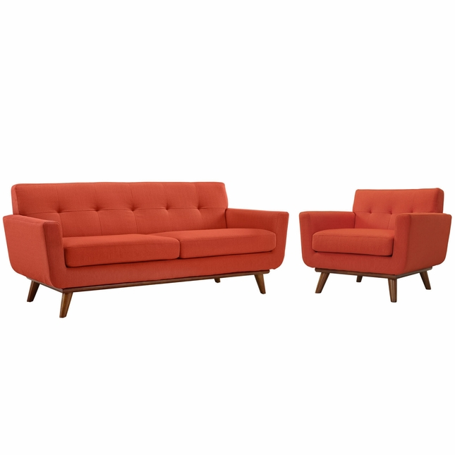 Mid-Century Modern Engage 2pc Loveseat & Armchair Set, Atomic Red