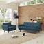 Mid-Century Modern Engage 2pc Button-Tufted Loveseat & Armchair Set, Azure