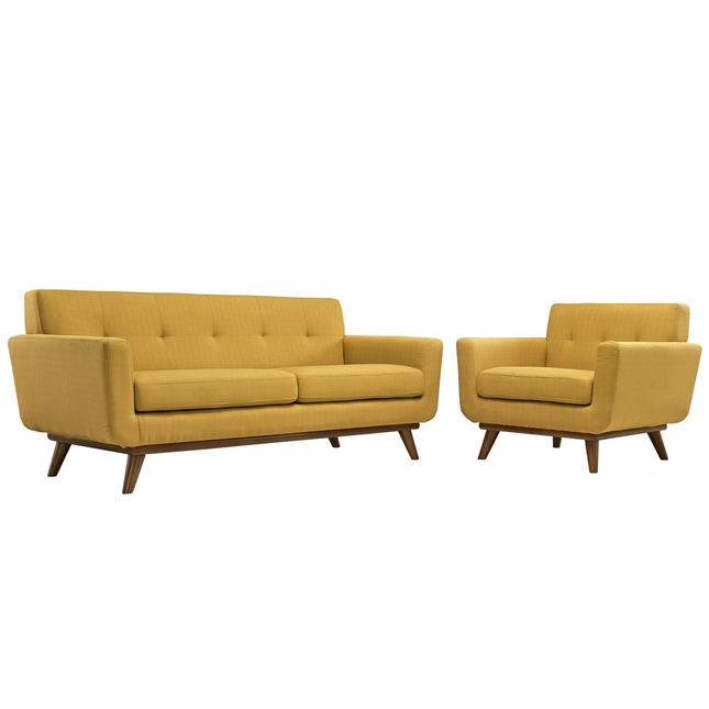 Mid-Century Modern Engage 2pc Button-Tufted Loveseat & Armchair Set, Citrus