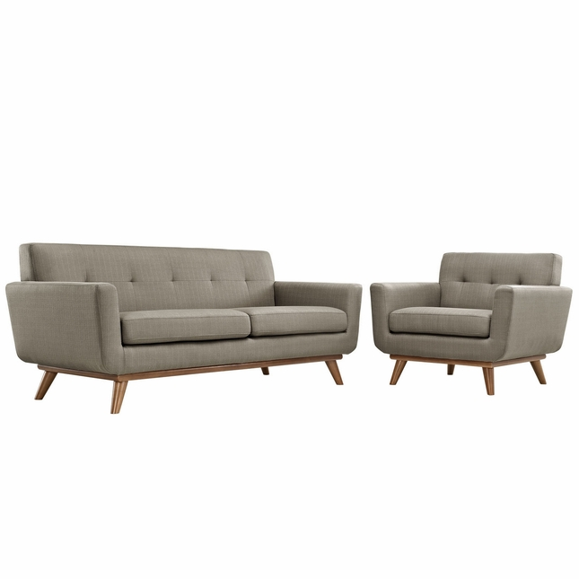 Mid-Century Modern Engage 2pc Button-Tufted Loveseat & Armchair Set, Granite