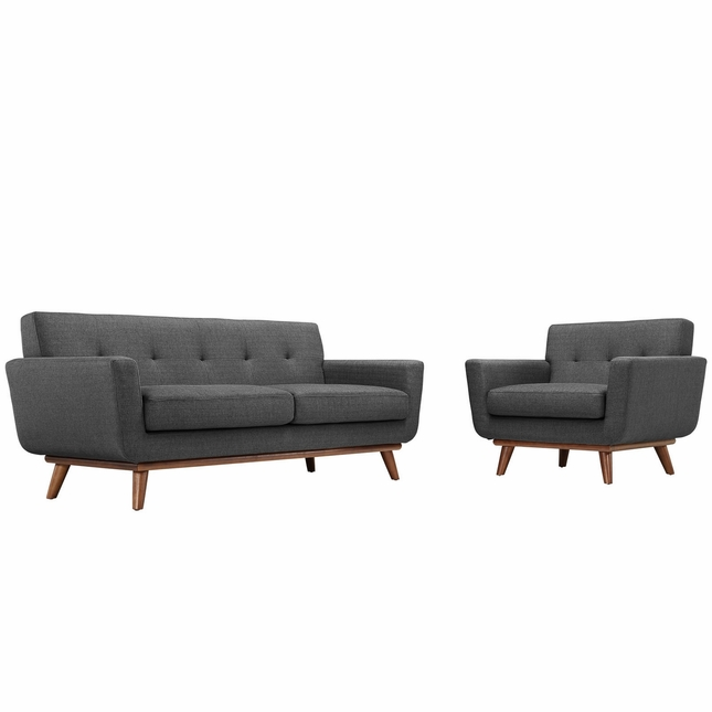 Mid-Century Modern Engage 2pc Button-Tufted Loveseat & Armchair Set, Gray