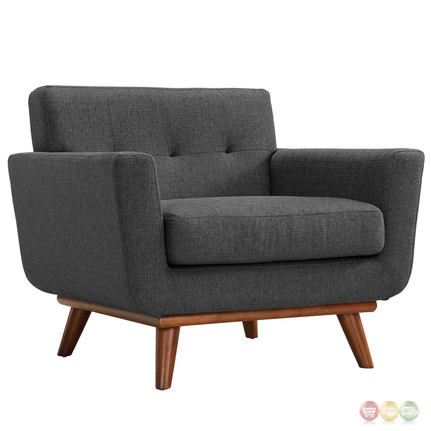Engage Modern 2pc Upholstered Button Tufted Loveseat And Armchair Set Gray