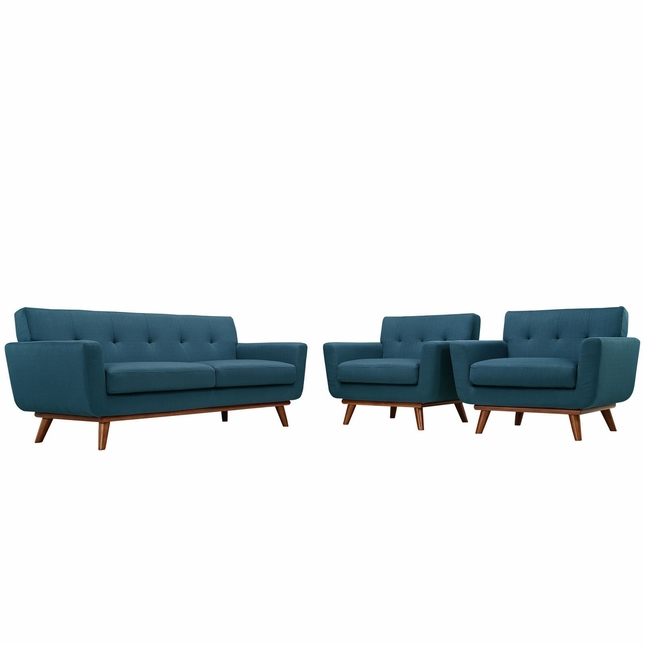 Mid-Century Modern Engage 2pc Button-Tufted Loveseat And Armchairs, Azure