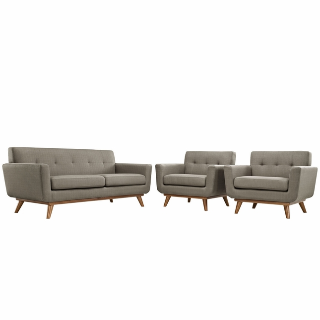 Mid-Century Modern Engage 2pc Button-Tufted Loveseat & Armchairs, Granite