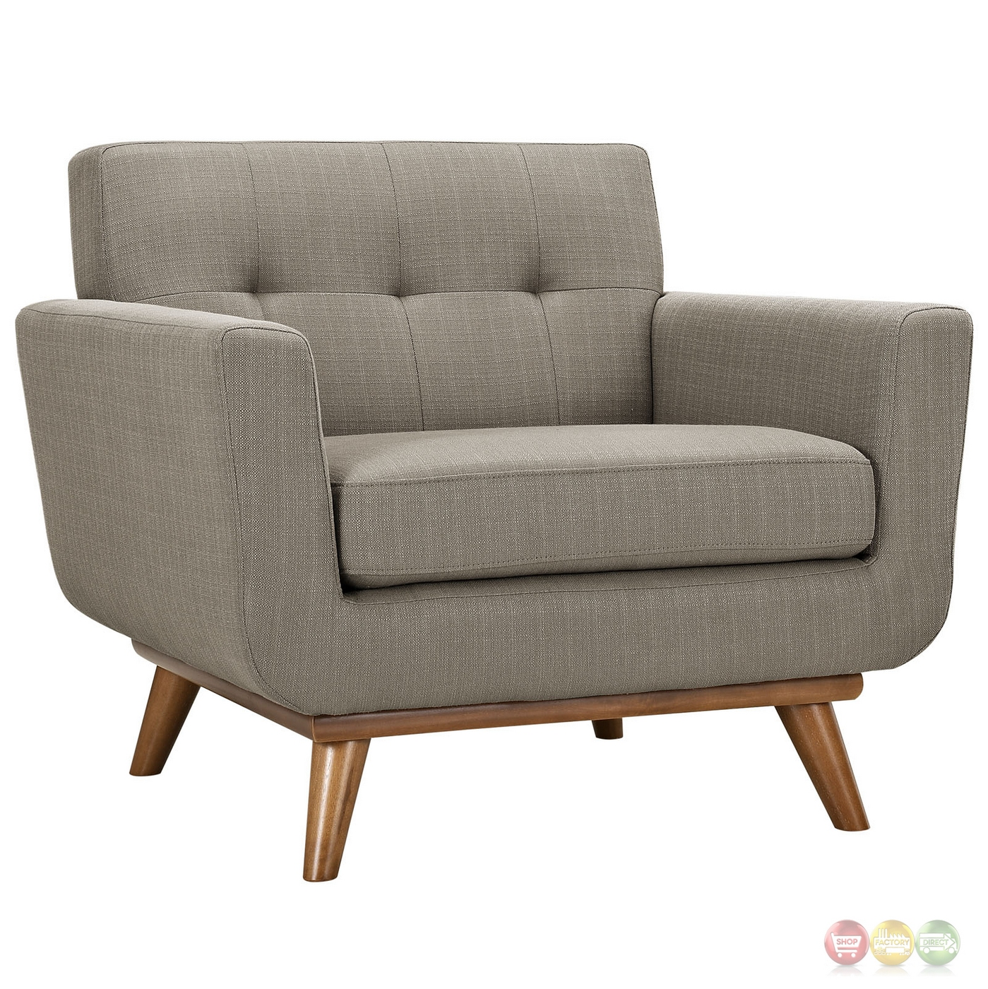 Engage Modern 2pc Upholstered Button Tufted Loveseat And Armchairs Granite