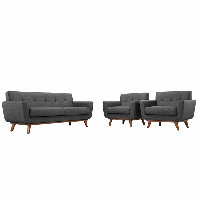 Mid-Century Modern Engage 2pc Button-Tufted Loveseat And Armchairs, Gray