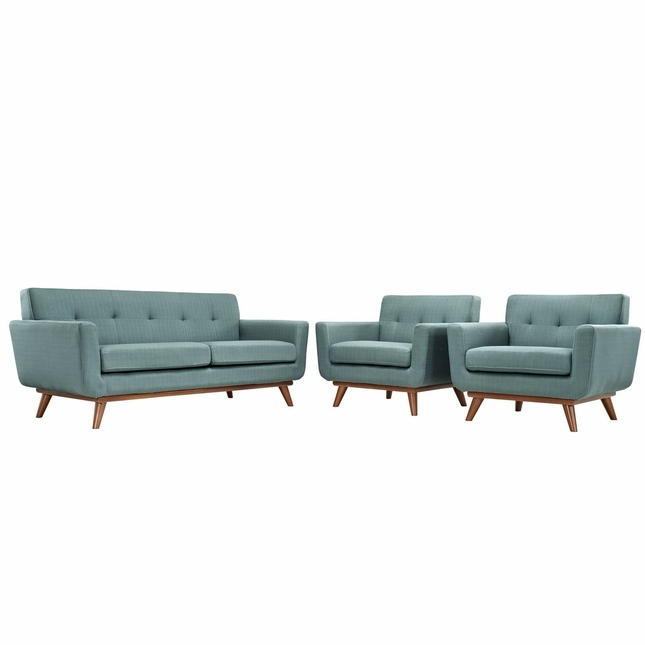 Mid-Century Modern Engage 2pc Button-Tufted Loveseat & Armchairs, Laguna