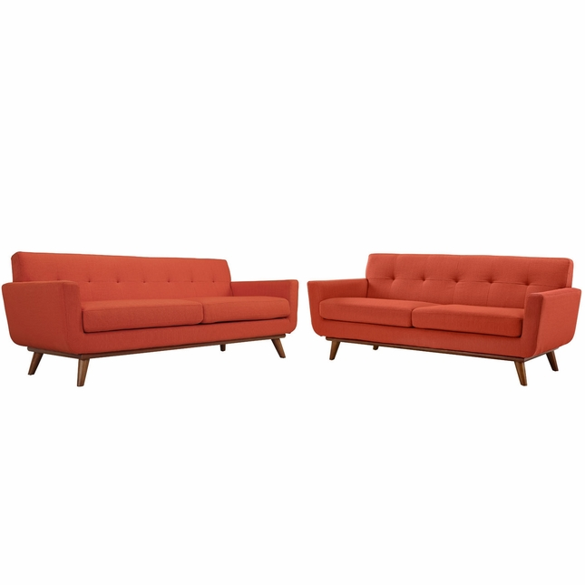 Mid-Century Modern Engage 2pc Button-Tufted Loveseat And Sofa, Atomic Red