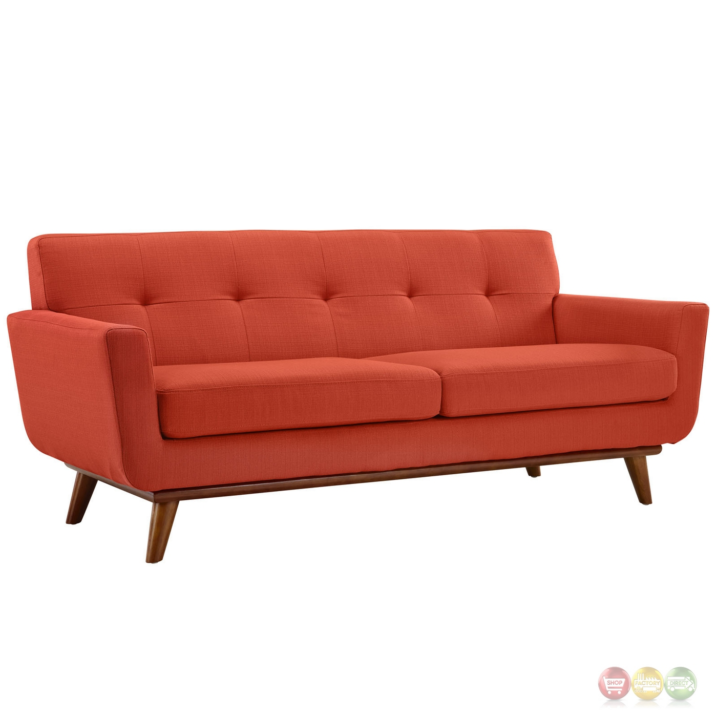 Engage Modern 2pc Upholstered Button Tufted Loveseat And Sofa Atomic Red