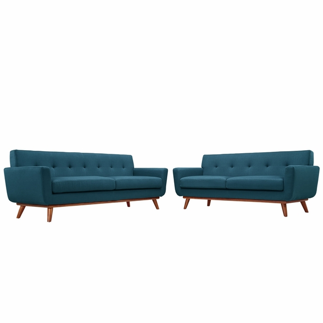 Mid-Century Modern Engage 2pc Button-Tufted Loveseat And Sofa, Azure