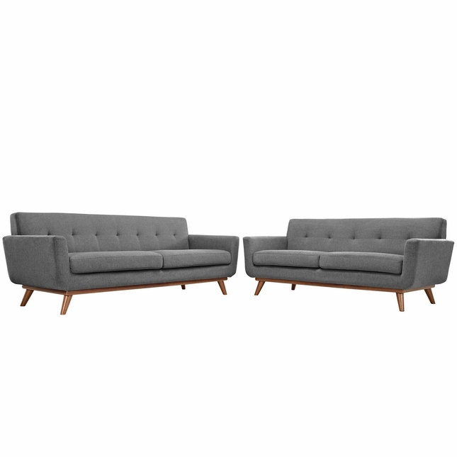Mid-Century Modern Engage 2pc Button-Tufted Loveseat And Sofa, Gray