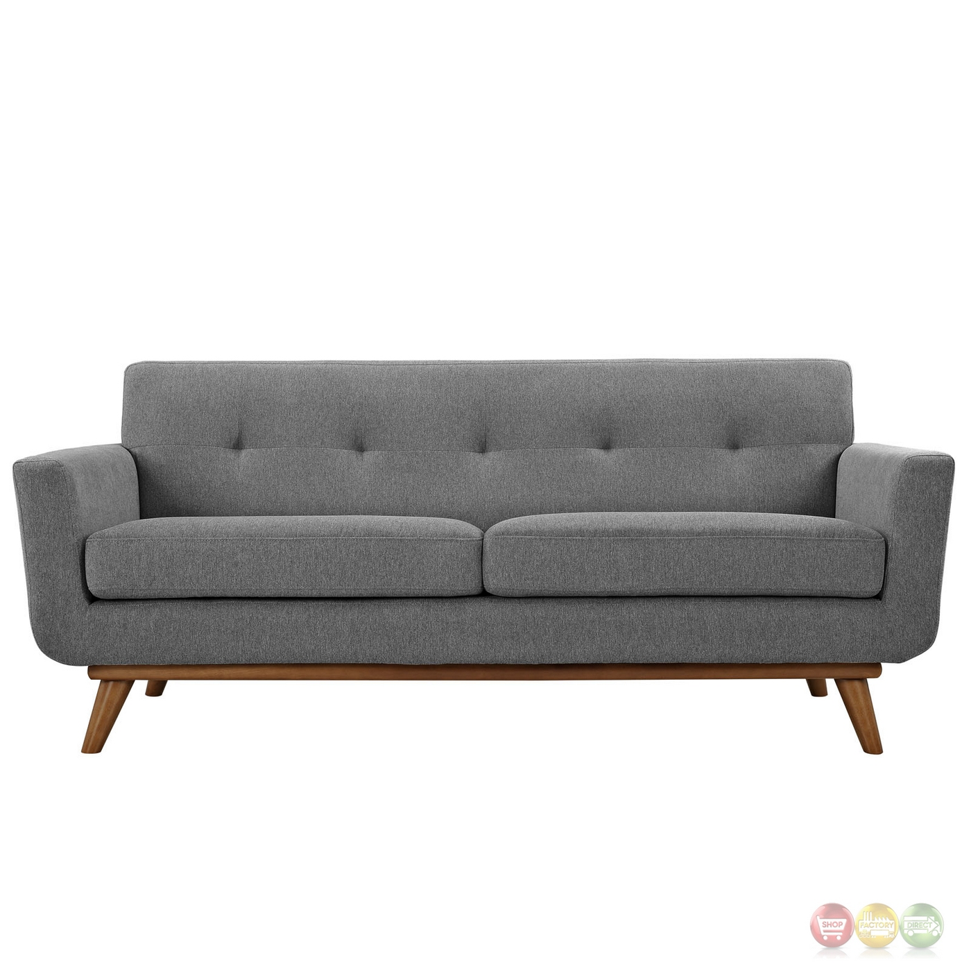Engage modern 2pc upholstered button tufted loveseat and for Couch and loveseat