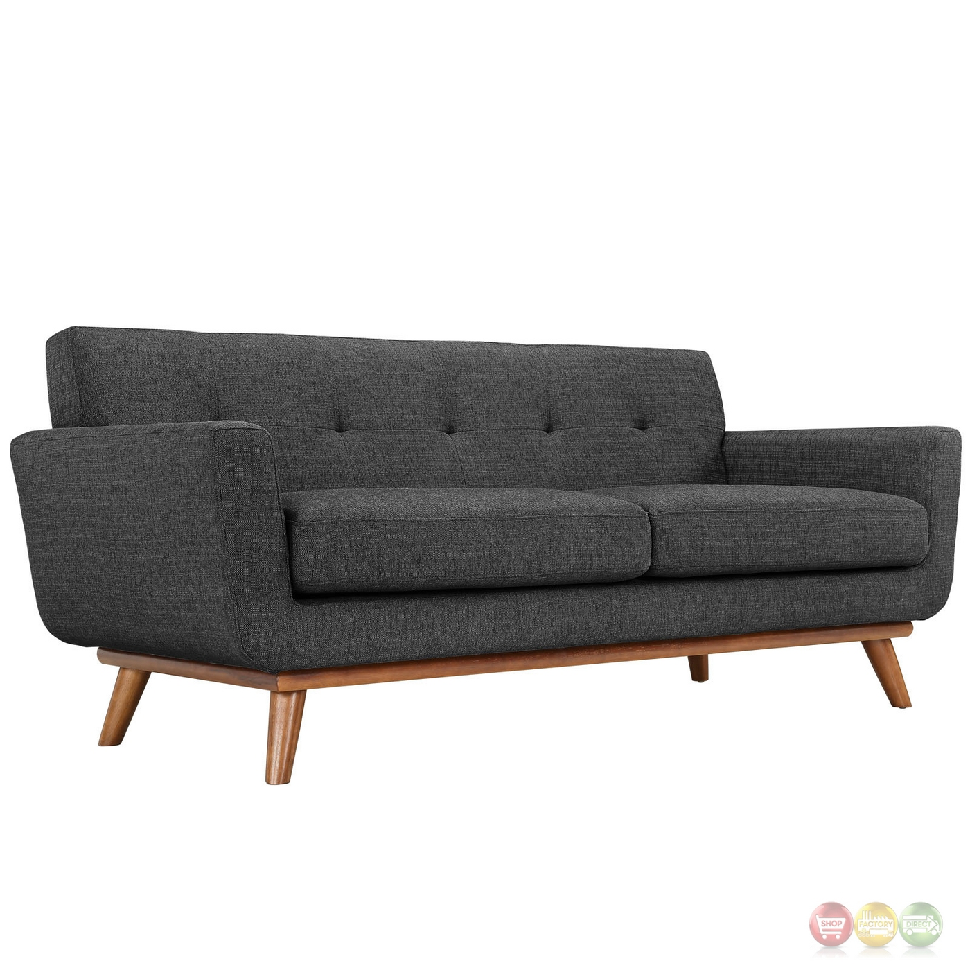 Engage modern 2pc upholstered button tufted loveseat and for Modern love seats