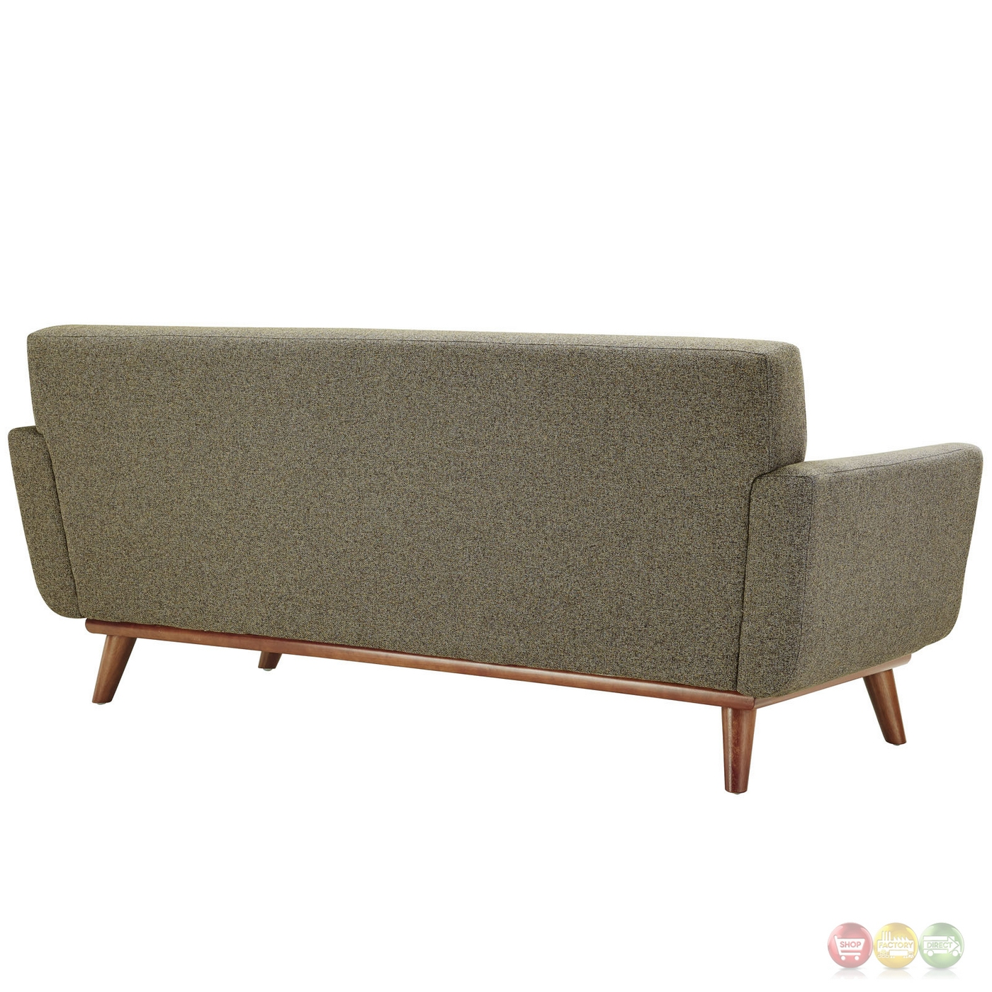 Engage Modern 2pc Upholstered Button Tufted Loveseat And Sofa Oat