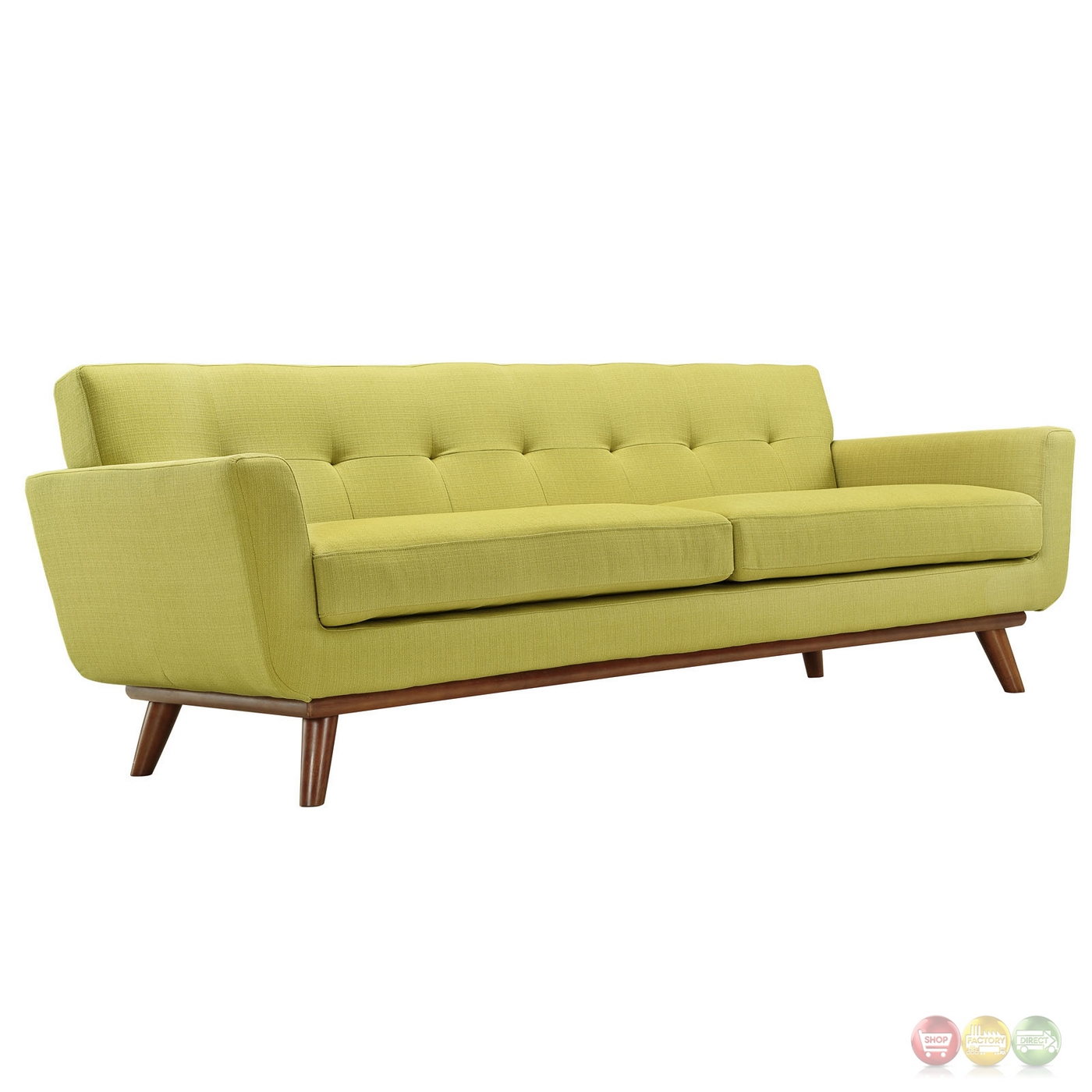 Engage Modern 2pc Upholstered Button Tufted Loveseat And Sofa Wheat