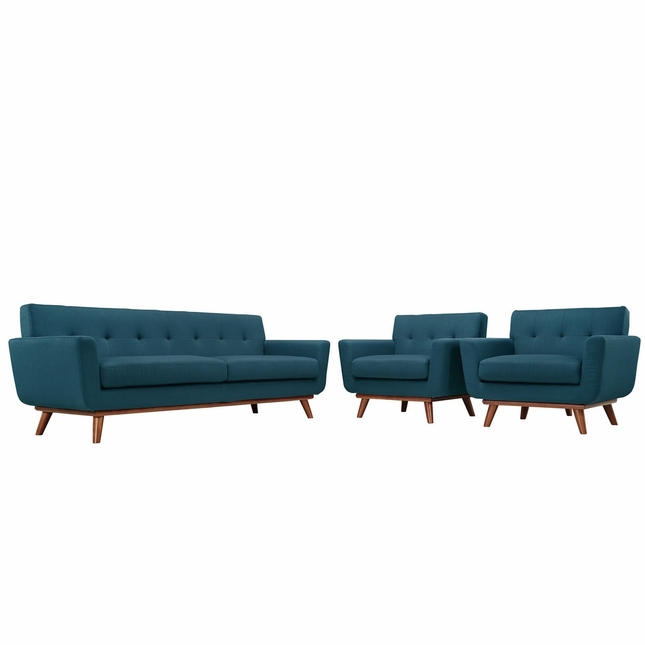 Mid-Century Modern Engage 2pc Button-Tufted Sofa Armchair Set, Azure