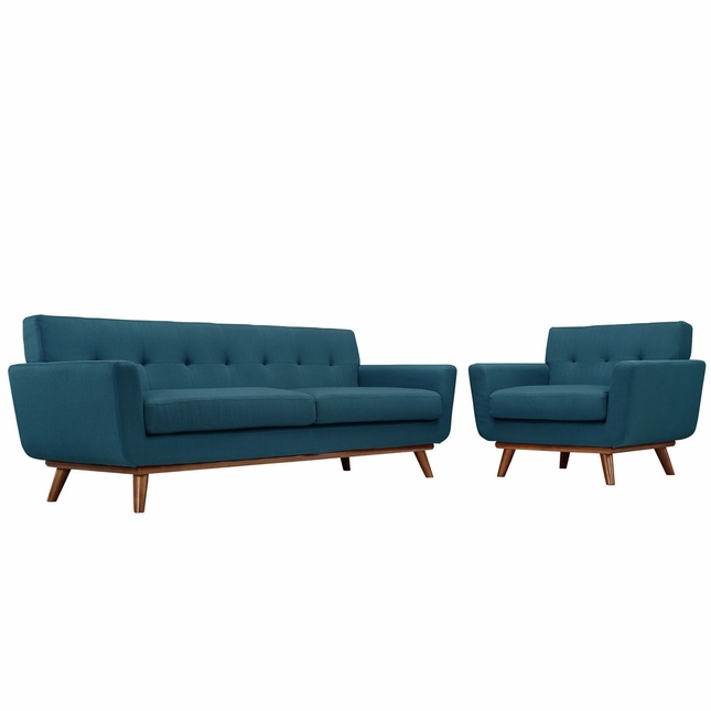 Mid-Century Modern Engage 2pc Button-Tufted Sofa & Armchair Set, Azure