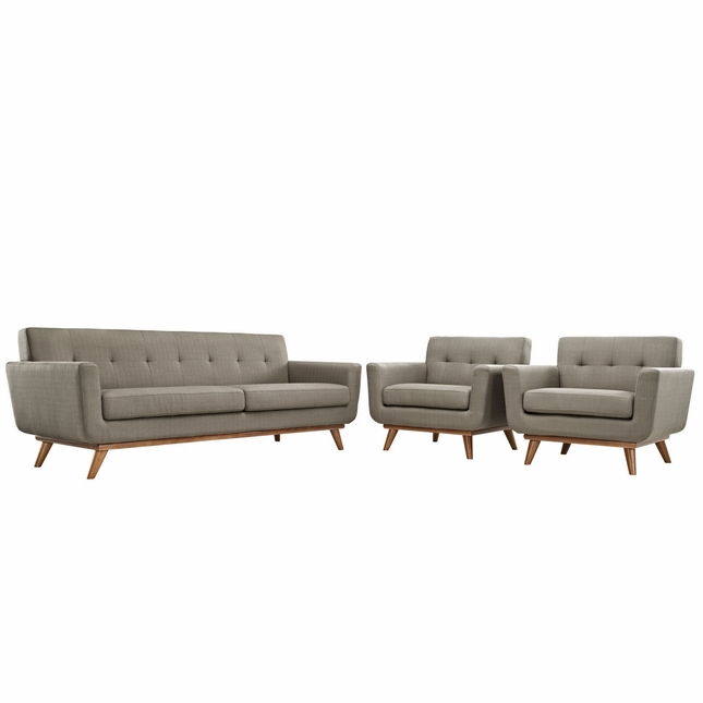 Mid-Century Modern Engage 2pc Button-Tufted Sofa Armchair Set, Granite