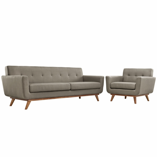 Mid-Century Modern Engage 2pc Button-Tufted Sofa & Armchair Set, Granite