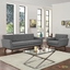 Mid-Century Modern Engage 2pc Button-Tufted Sofa & Armchair Set, Gray