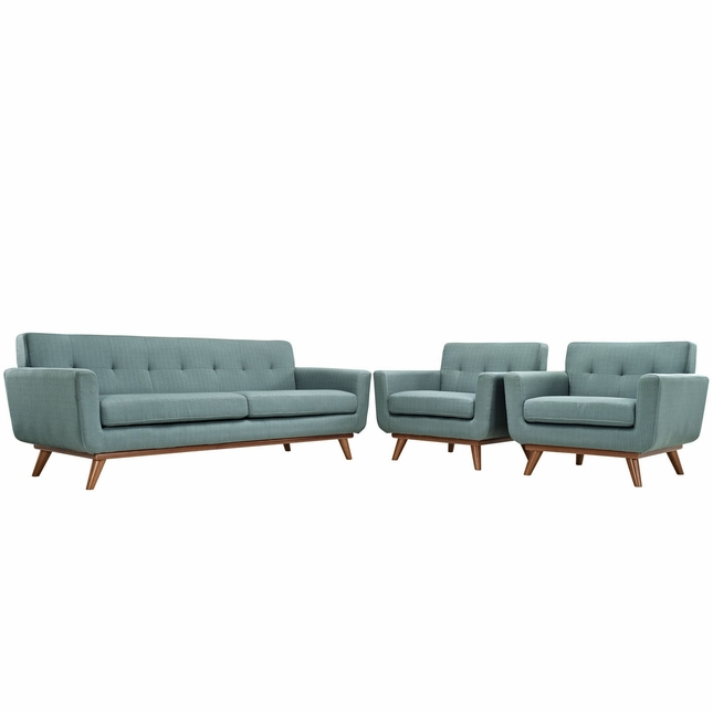Mid-Century Modern Engage 2pc Button-Tufted Sofa Armchair Set, Laguna