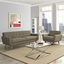 Mid-Century Modern Engage 2pc Button-Tufted Sofa & Armchair Set, Oatmeal